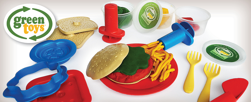 Green Toys Dough sandwich making set with green, red, and yellow dough tub.