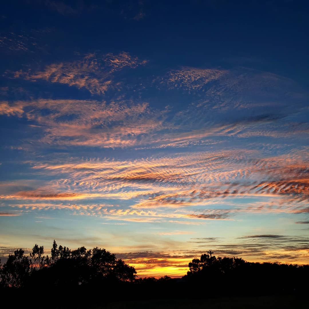Wispy pink clouds in a  deep blue sunset sky over Central Texas