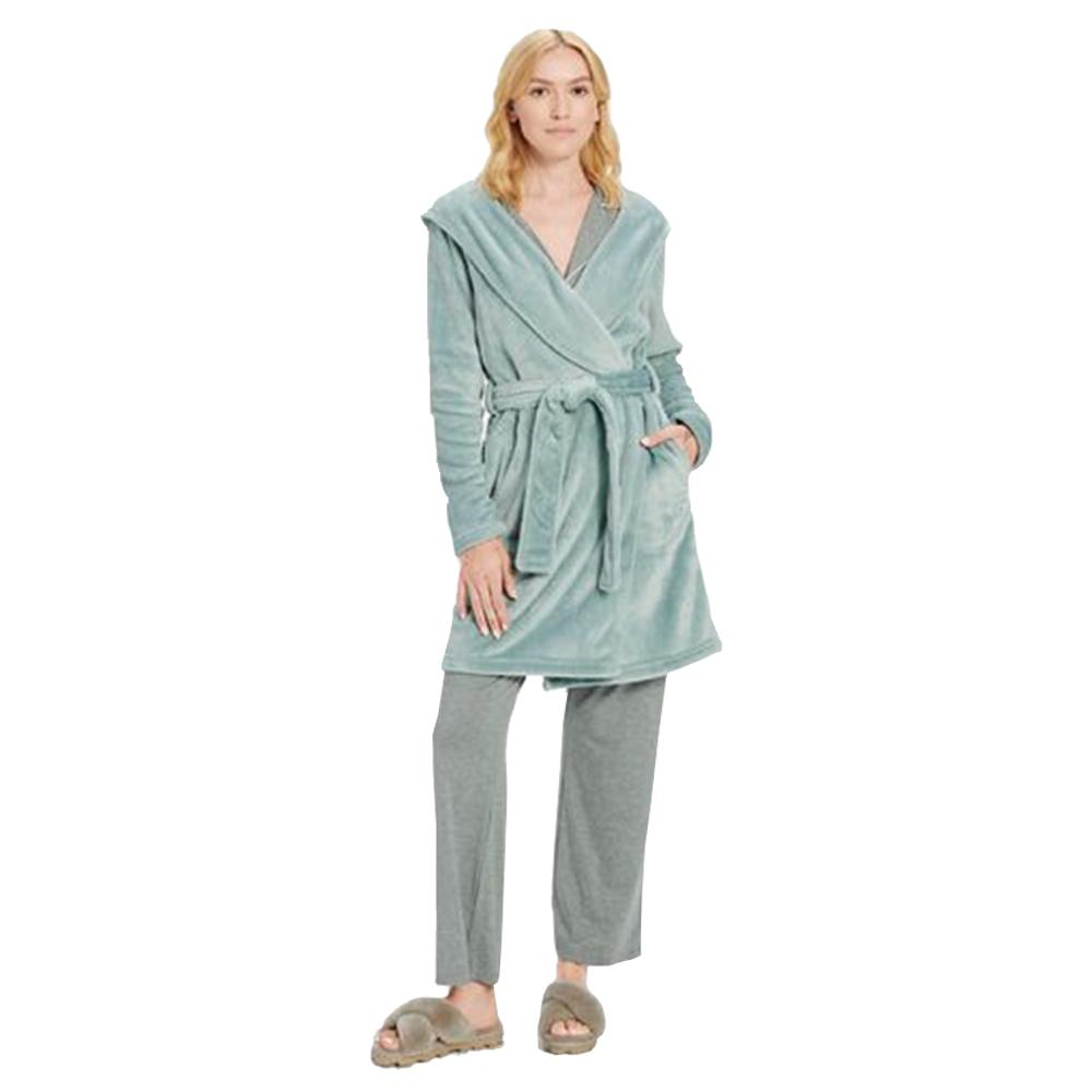 Woman wearing PJs with an Ugg Miranda Robe in Succulent