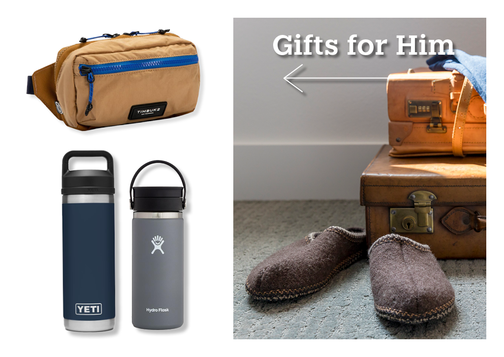 A Patagona hip pack, Yeti water bottle, Hydroflask water bottle, and a pair slippers.