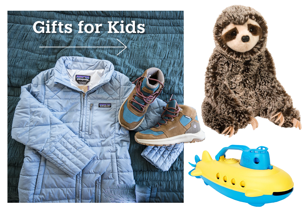 A kids patagonia jacket, a pair of boots, a sloth stuffed animal and a toy boat from Green Toys