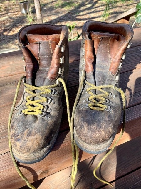 Well-worn Asolo hiking boots