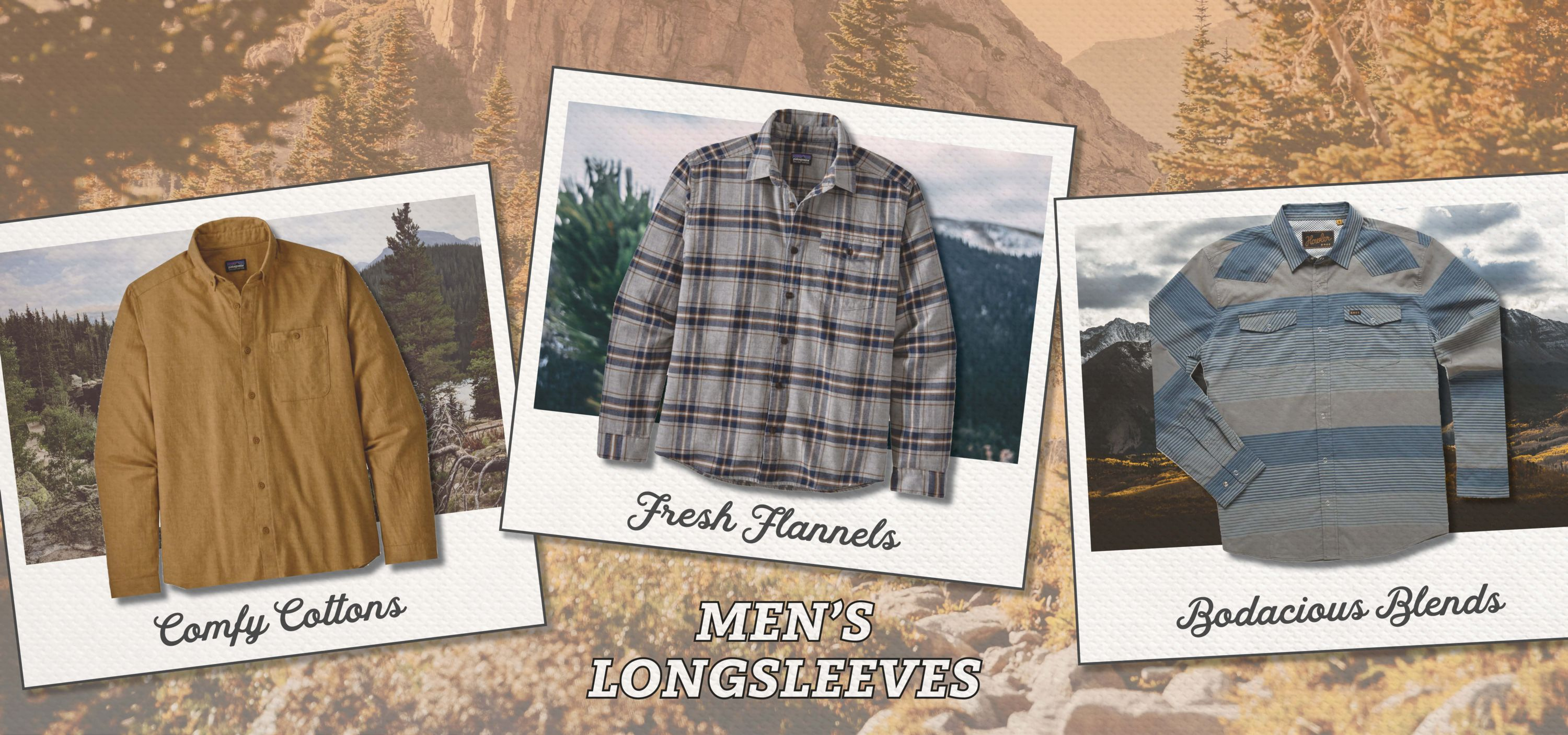 Three Men's Longsleeve Shirts in polaroid type pictures overlaid on mountain views.