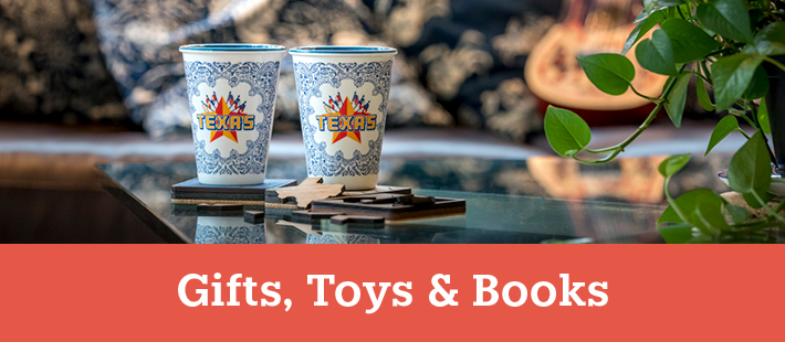 Texas themed cups on a coffee table - View our Gifts, Toys and Books section