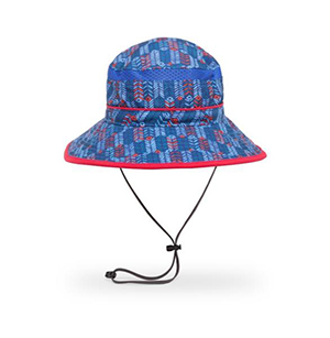 Kids blue and red sunhat with a wrap around brim.