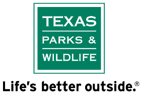 Image of the green and white Texas Parks and Wildlife Logo with the words Life's Better Outside underneath