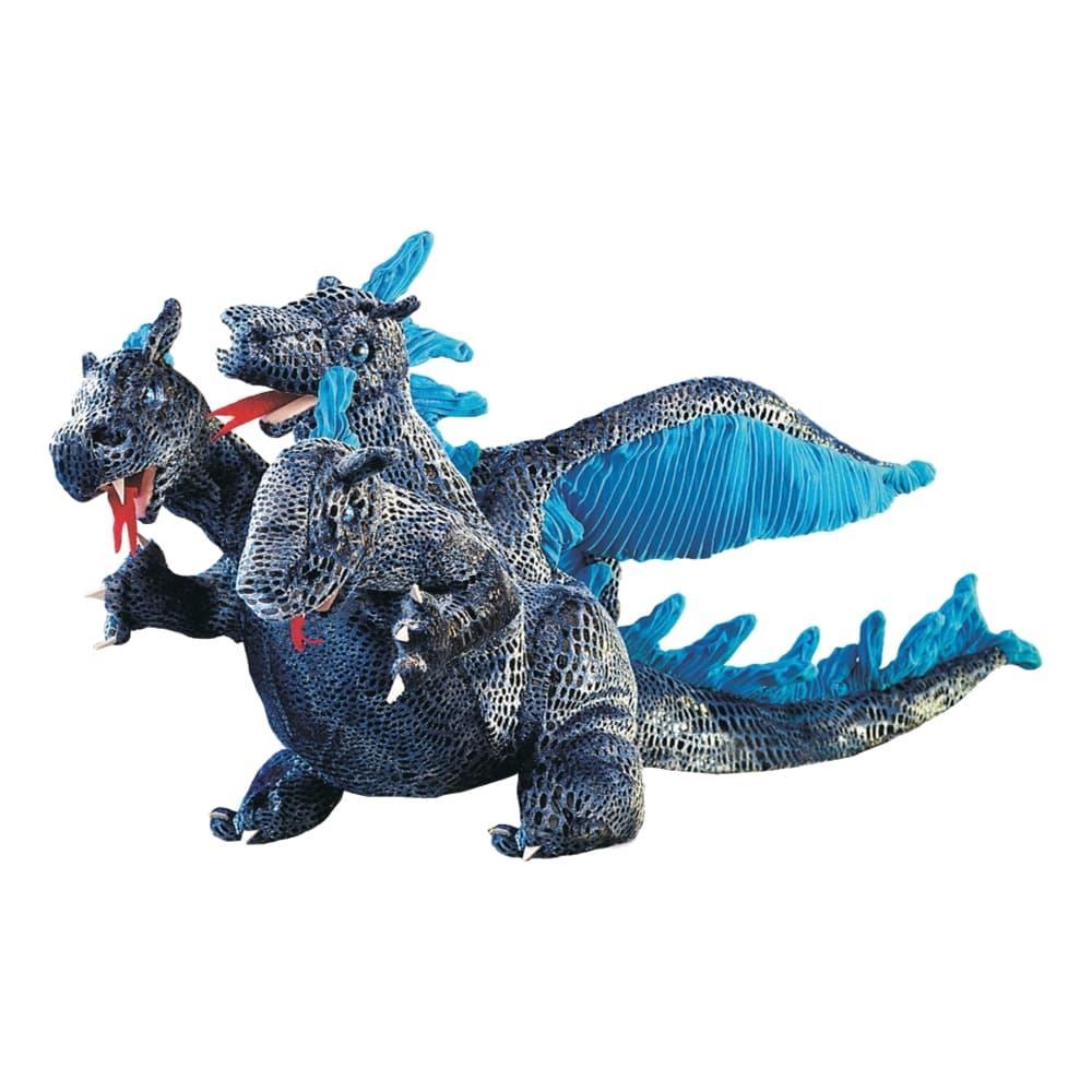 Folkmanis Three- Headed Dragon Blue Hand Puppet