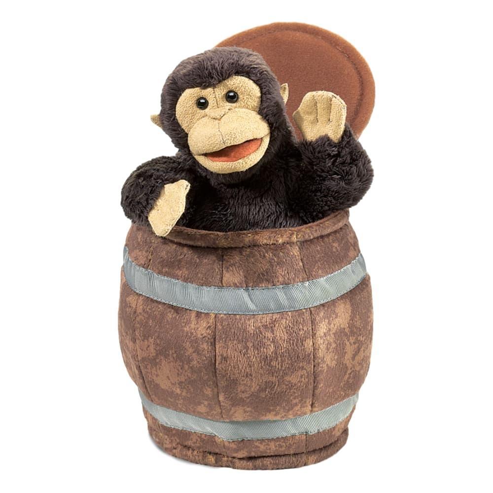 Folkmanis Monkey In Barrel Hand Puppet
