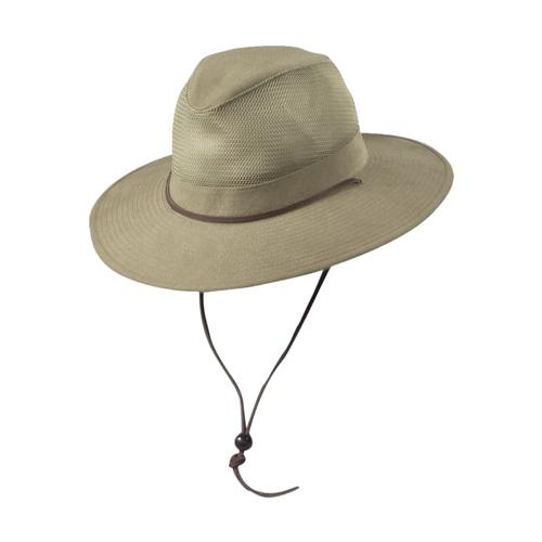 Dorfman Pacific Men's Canvas Mesh Safari Hat KHAKI
