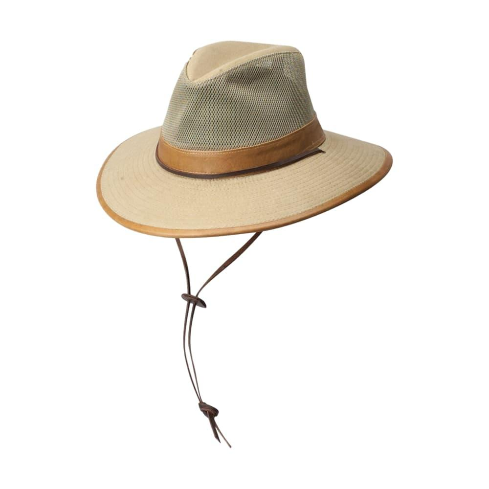 Dorfman Pacific Men's Canvas Mesh Bound Brim Safari Hat CAMEL
