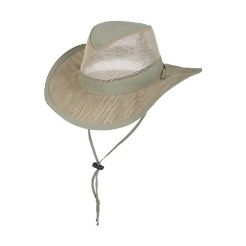 Dorfman Pacific Men's Supplex Mesh Safari Hat FOSSIL