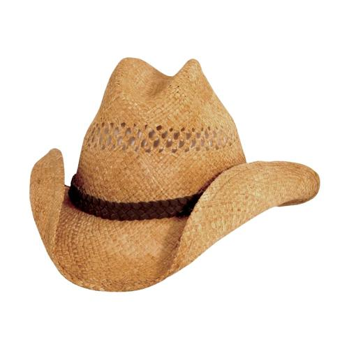 Dorfman Pacific Men's Vented Western Raffia Hat TEA