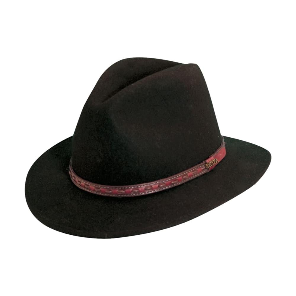 Dorfman Pacific Men's Wool Felt Safari Fedora - Leather Band BLACK