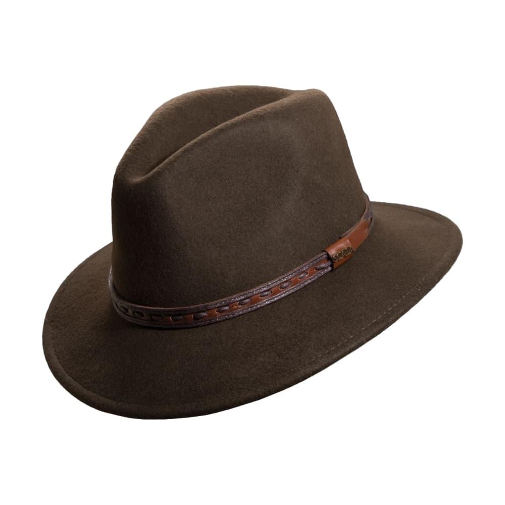 Dorfman Pacific Men's Wool Felt Safari Fedora - Leather Band OLIVE