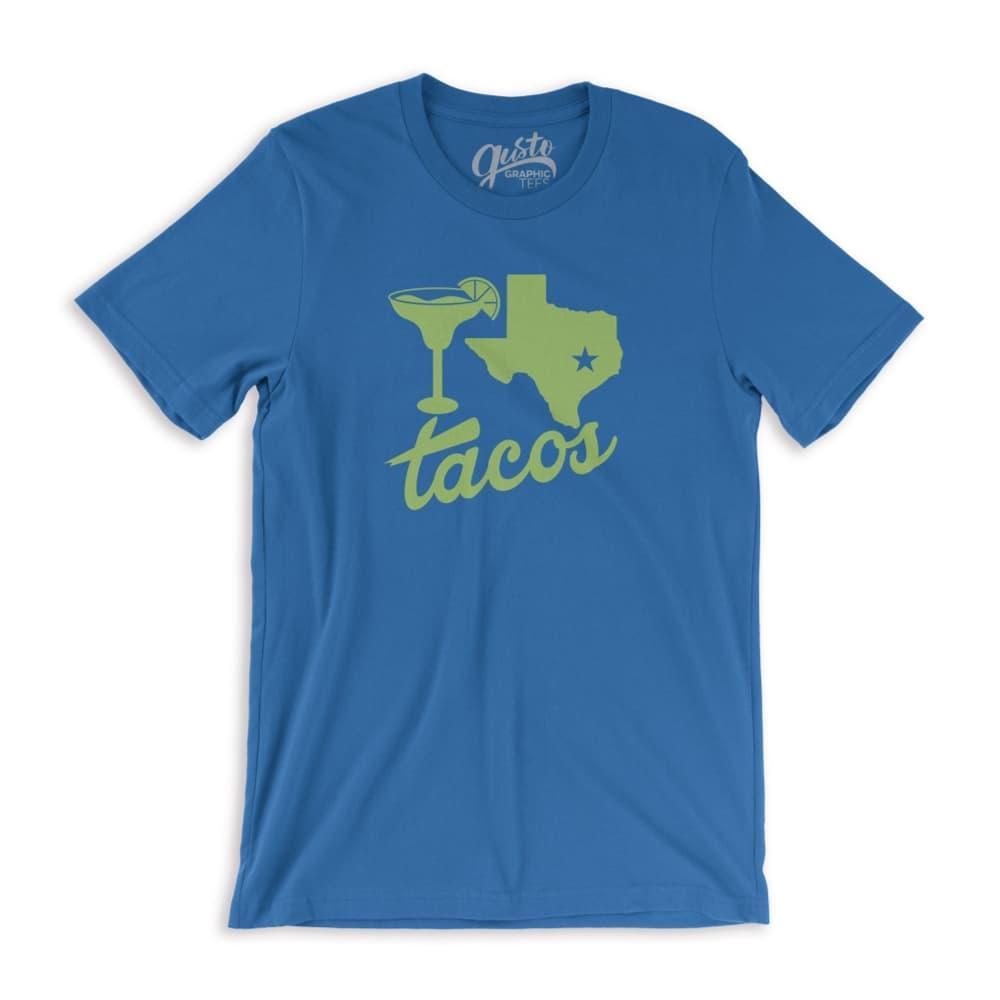 Gusto Graphic Tees Unisex Margaritas, Texas, Tacos T-Shirt RYLBLUE_3001