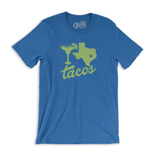Gusto Graphic Tees Unisex Margaritas, Texas, Tacos T-Shirt Rylblue_3001