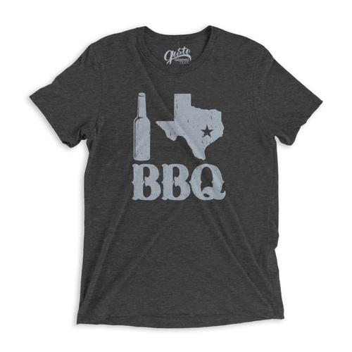 Gusto Graphic Tees Unisex I Love Texas BBQ T-Shirt DKGRAY_3413