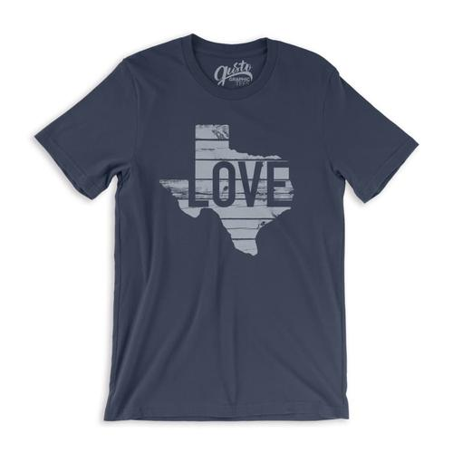 Gusto Graphic Tees Unisex Texas Love T-Shirt Navy_3001