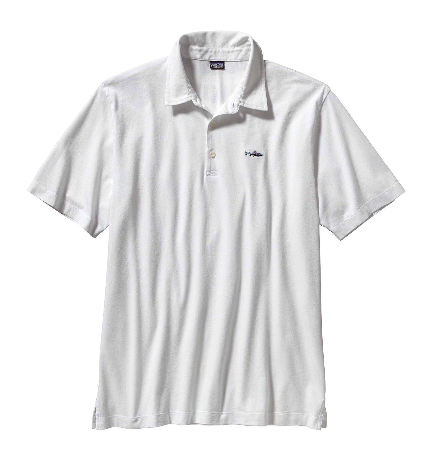 Patagonia Men's Polo Trout Fitz Roy Shirt WHI_WHITE