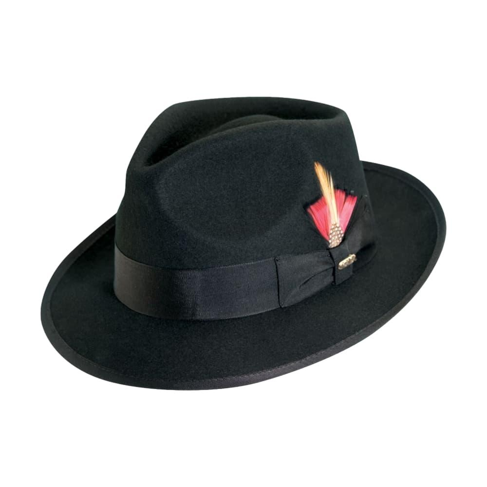 Dorfman Pacific Men's Wool Felt Fedora with Feather Accent BLACK