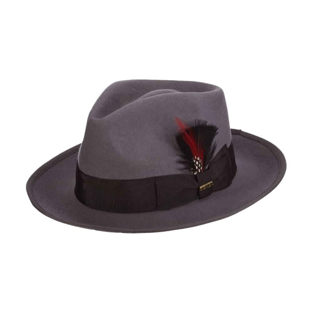 Dorfman Pacific Men's Wool Felt Fedora with Feather Accent GREY