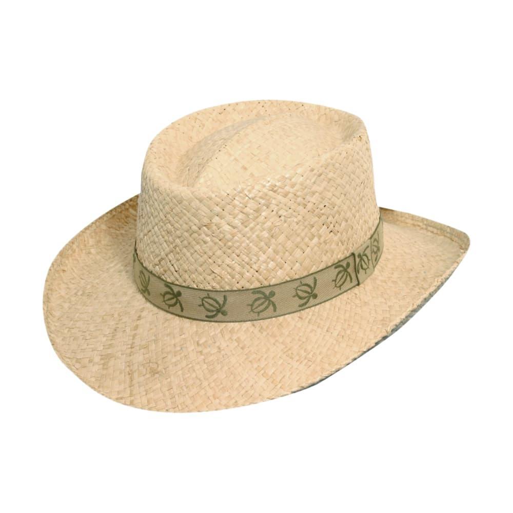 Dorfman Pacific Men's Safari Braided Raffia with Turtle Band Hat NATURAL