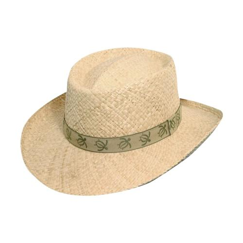 Dorfman Pacific Men's Safari Braided Raffia with Turtle Band Hat NATURAL