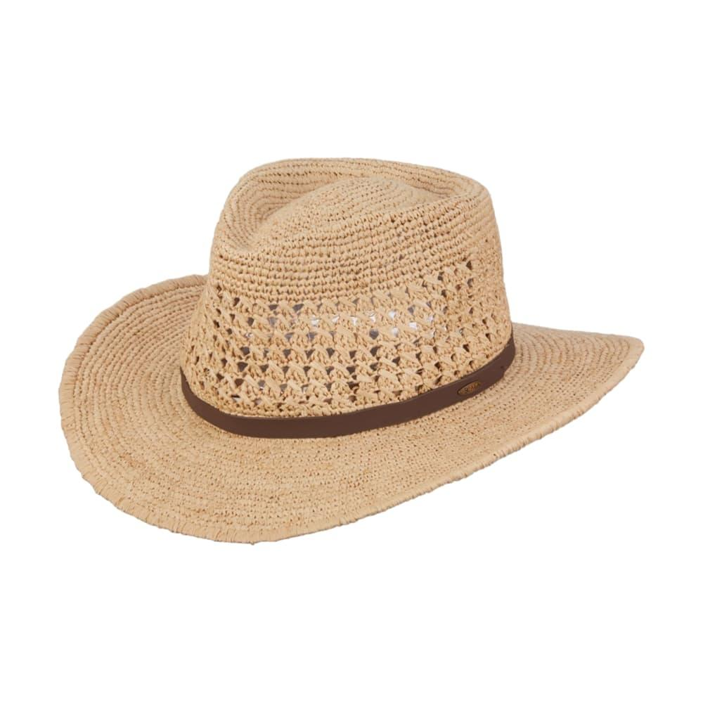 Scala Men's Crocheted Outback Straw Hat NATURAL