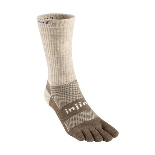 Injinji Unisex Outdoor Original Weight Crew NuWool Socks Oatmeal