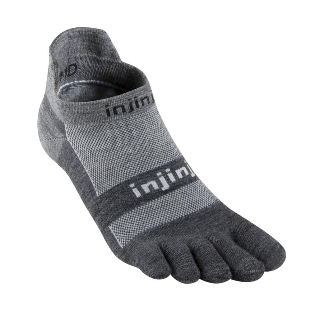 Injinji Unisex Run Lightweight No-Show NuWool Socks CHARCOAL