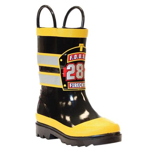 Western Chief Kids F.D.U.S.A. Firechief Rain Boots BLACK