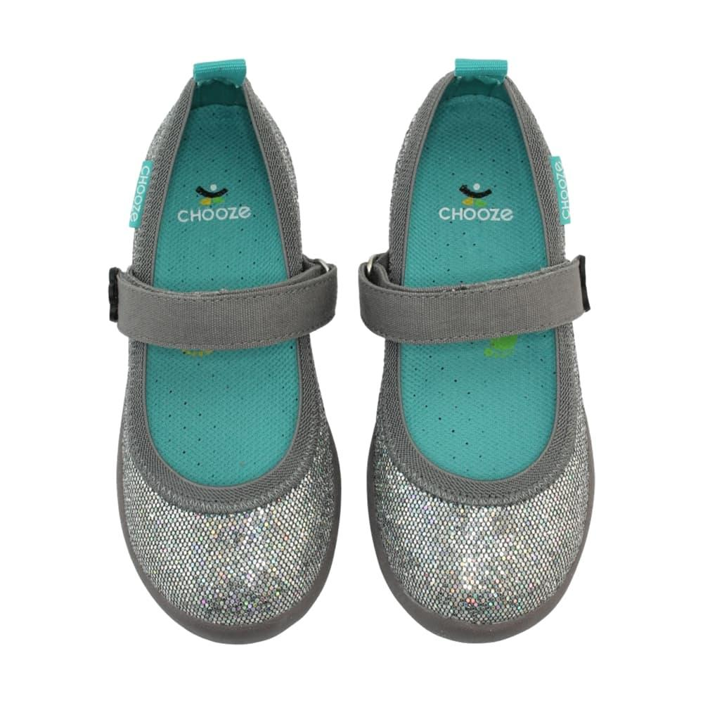 Chooze Girls Jump Sequined Mary Janes GLOWSLVR