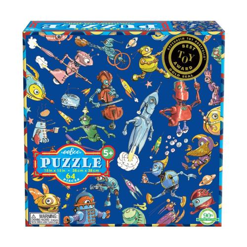 eeBoo Lots Of Robots 64 Piece Puzzle