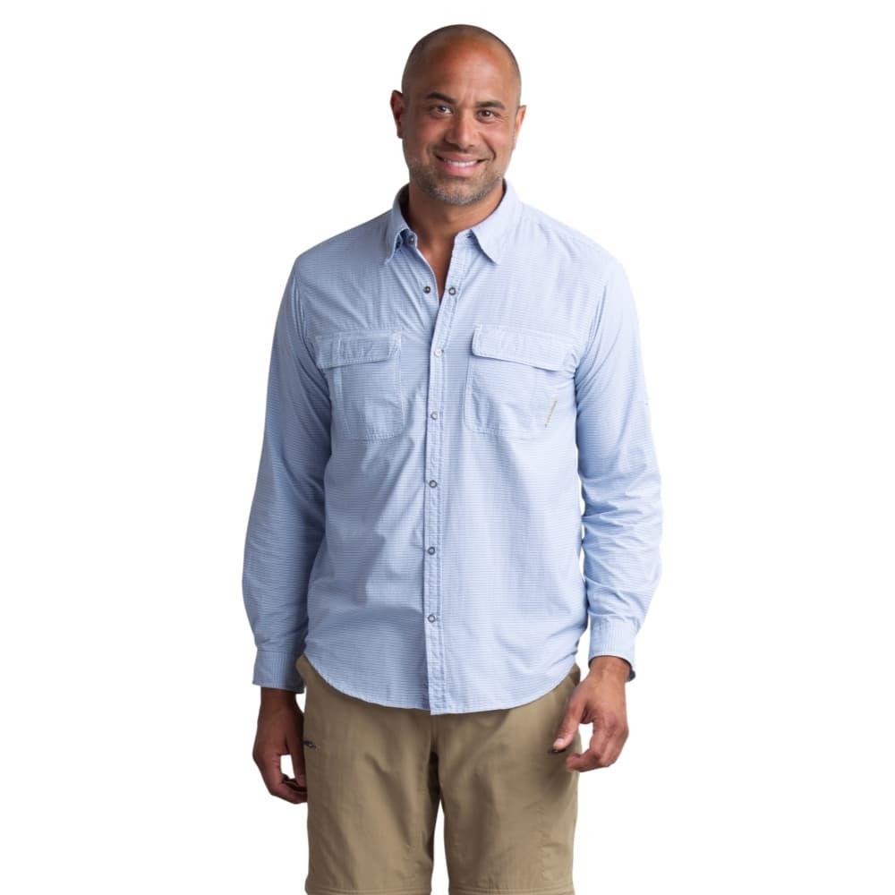 ExOfficio Men's BugsAway Halo Check Long Sleeve Shirt NAVY