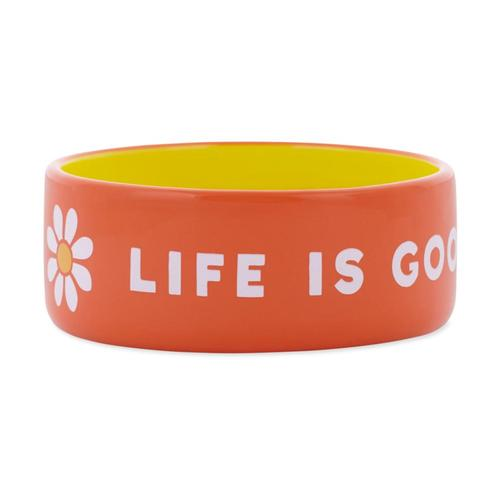 Life is Good 13oz Ceramic Daisy Dog Bowl - Small Trp_org
