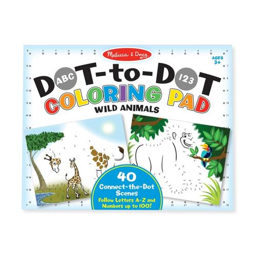 Melissa & Doug ABC 123 Dot-to-Dot Coloring Pad - Wild Animals