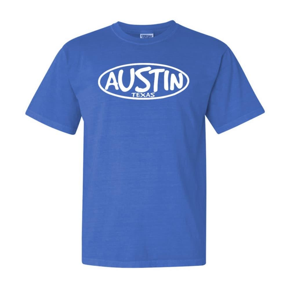 Outhouse Designs Unisex Keep Austin Weird Washed Cotton T-Shirt NEONBLUE