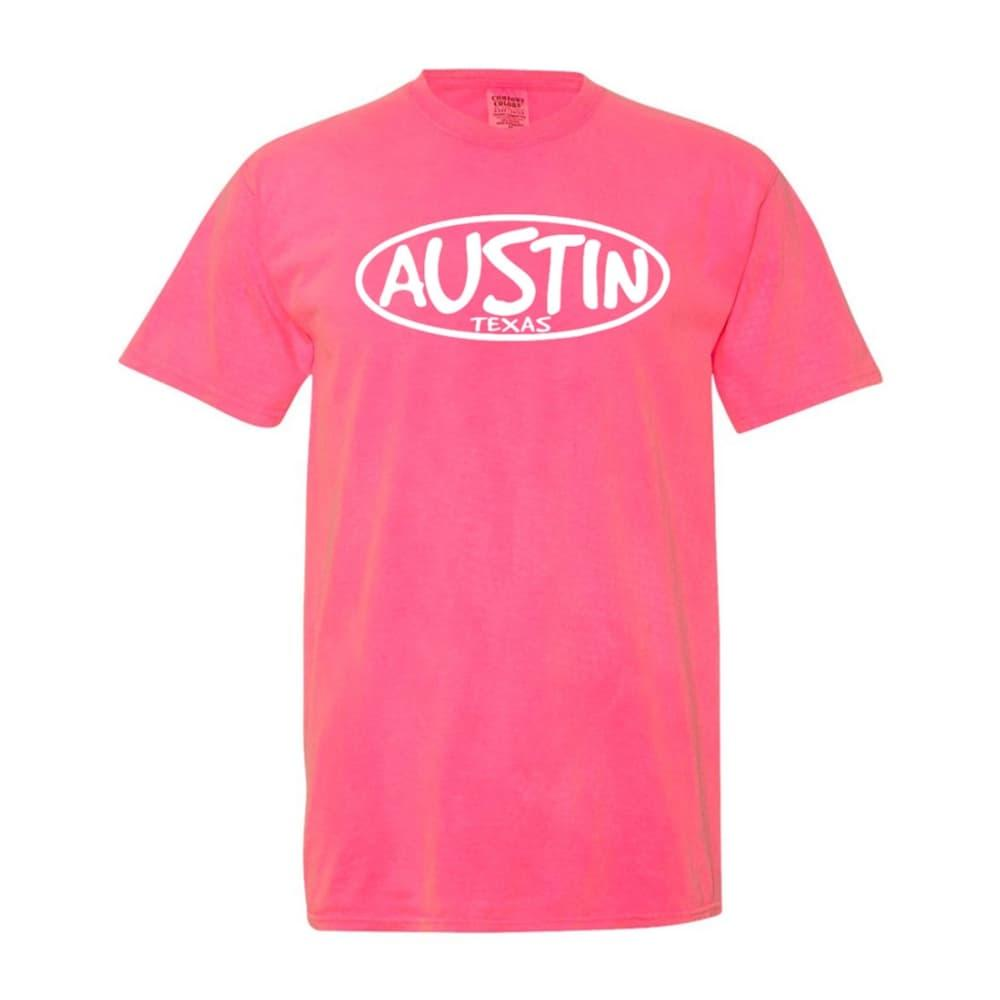 Outhouse Designs Unisex Keep Austin Weird Washed Cotton T-Shirt NEONPINK