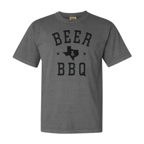 Outhouse Designs Unisex TX Beer and BBQ T-Shirt  Grey