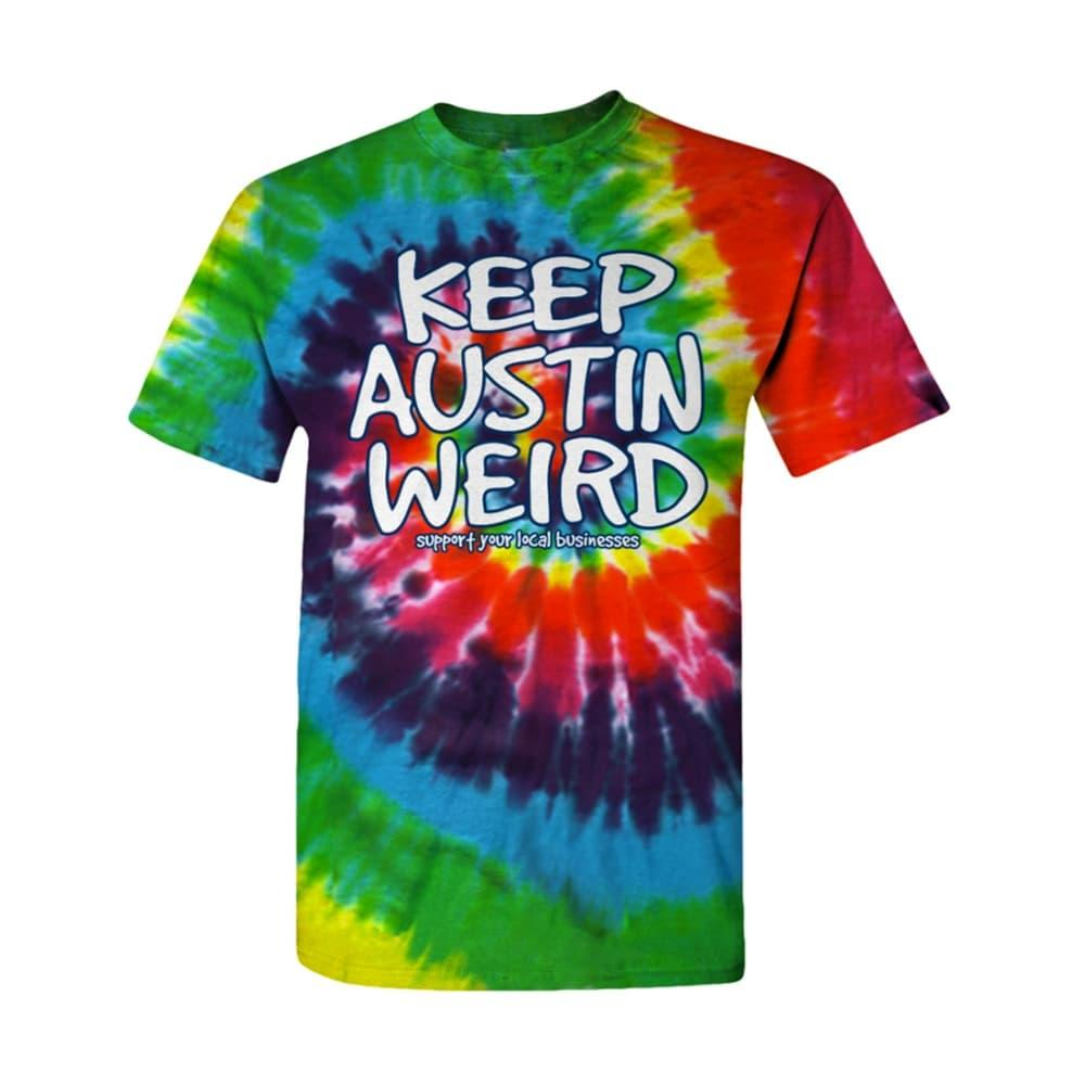 Outhouse Designs Youth Keep Austin Weird Tie Dye T-Shirt TIEDYE