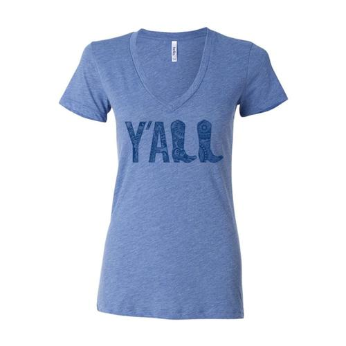Outhouse Designs Women's Y'all V-Neck Shirt Athblue