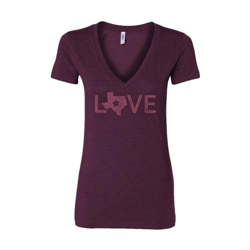 Outhouse Designs Women's Texas Love V-Neck Shirt