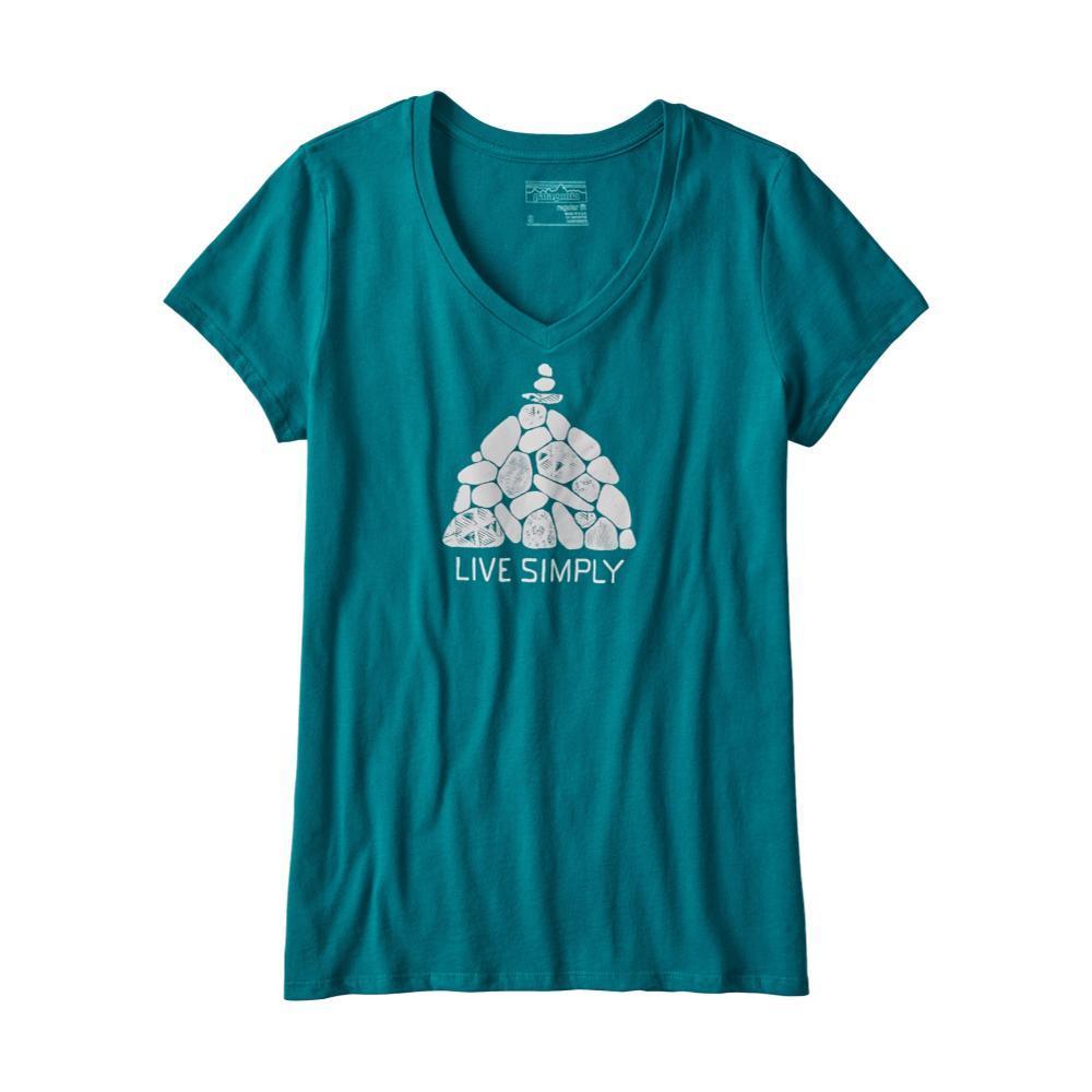 Patagonia Women's Live Simply Summit Stones Cotton V-Neck T-Shirt EBLUE_ELWB