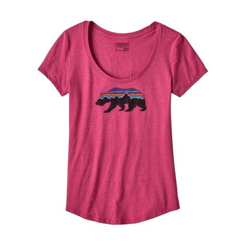 Patagonia Women's Fitz Roy Bear Cotton/Poly Scoop T-Shirt CPINK_CFTP