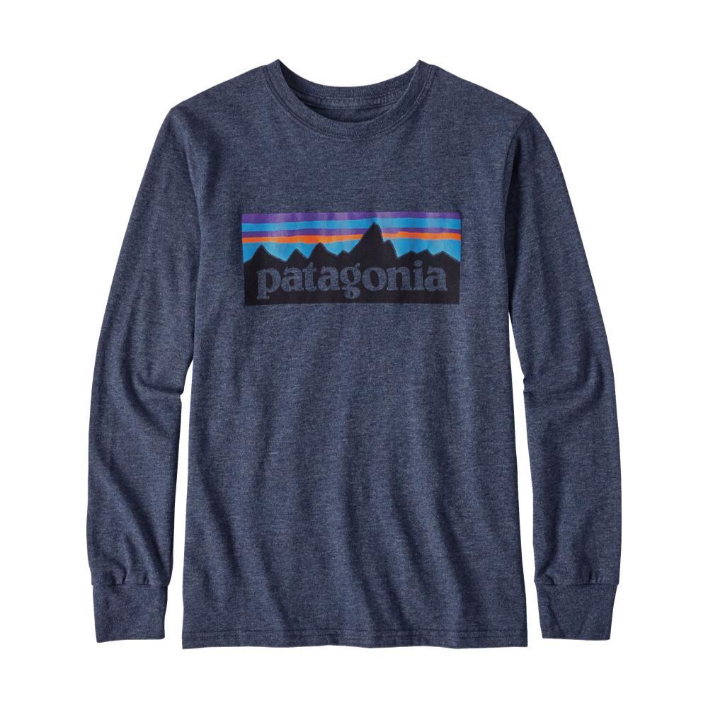Patagonia Boys Long-Sleeved P-6 Logo Organic T-Shirt NAVYNVYB