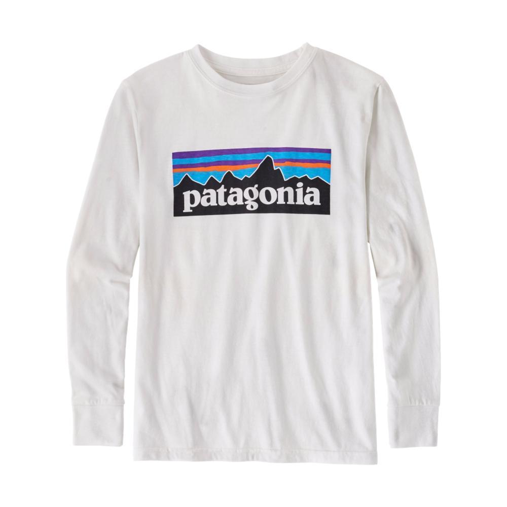 Patagonia Boys Long-Sleeved P-6 Logo Organic T-Shirt WHITEWHI