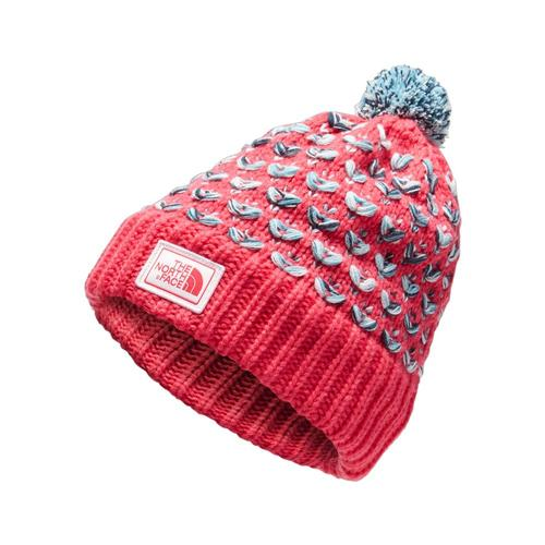 The North Face Girls Chunky Pom Beanie Pink_7qr