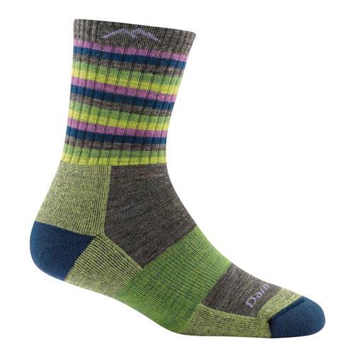 Darn Tough Women's Stripes Micro Crew Cushion Socks Limestripe