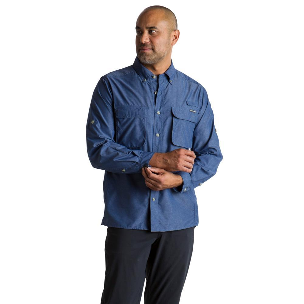ExOfficio Men's Air Strip LS Shirt INDIGOWASH