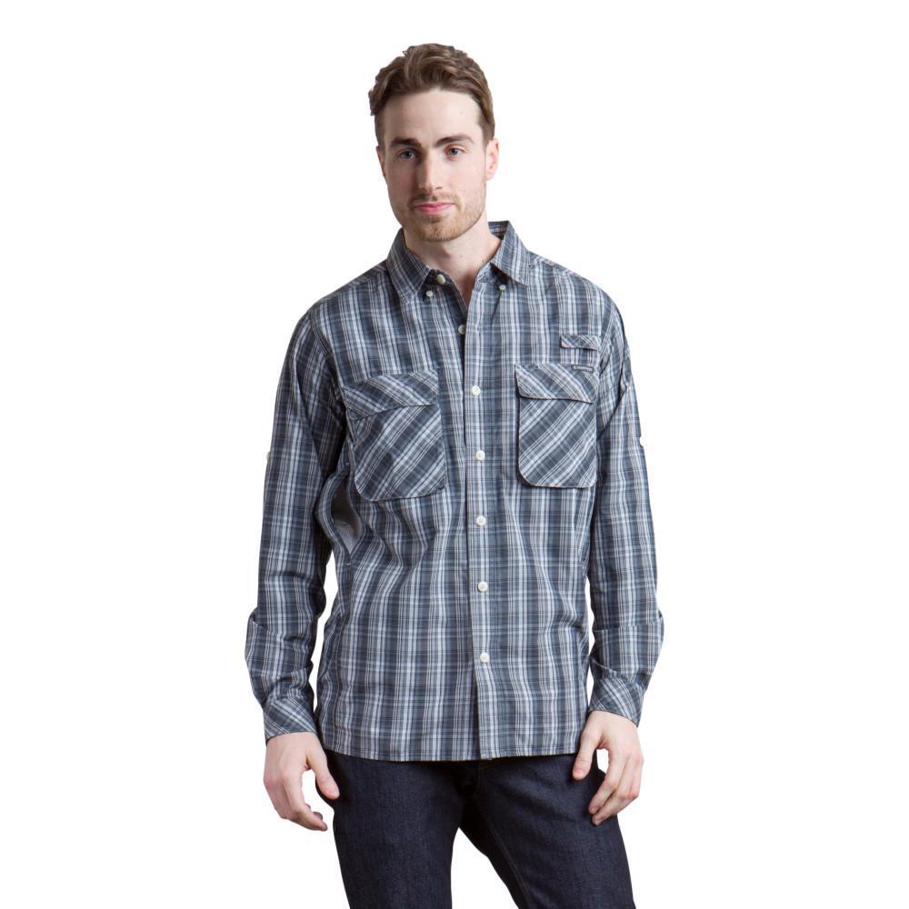 ExOfficio Men's Air Strip Macro Plaid LS Shirt BLACK
